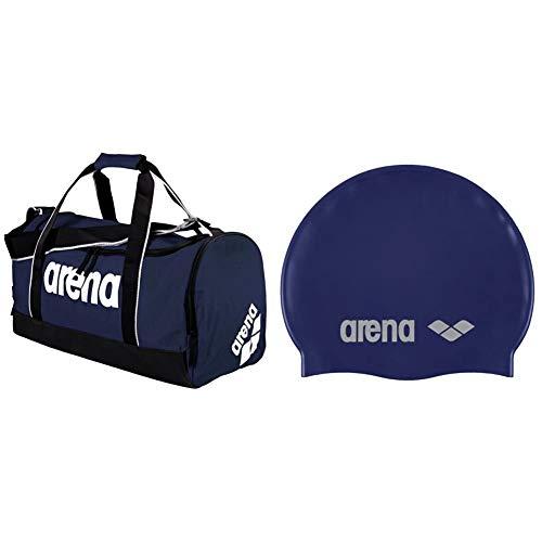 ARENA Spiky 2 Medium, Borsa Nuoto Sportiva Da 32 Litri Unisex Adulto, Blu (Navy Team), Taglia Unica & Classic Silicone, Cuffia Unisex Adulto, Blu (Denim/Silver), Taglia Unica