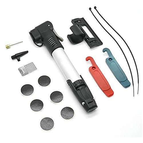VOIMAKAS Mini Portatile Pompa Aria per Bicicletta, Compatibile Valvole Presta e Schrader, con Pneumatici Kit di Riparazione, Telaio di Montaggio e Palle Ago, per Gomme Bici da Corsa, MTB