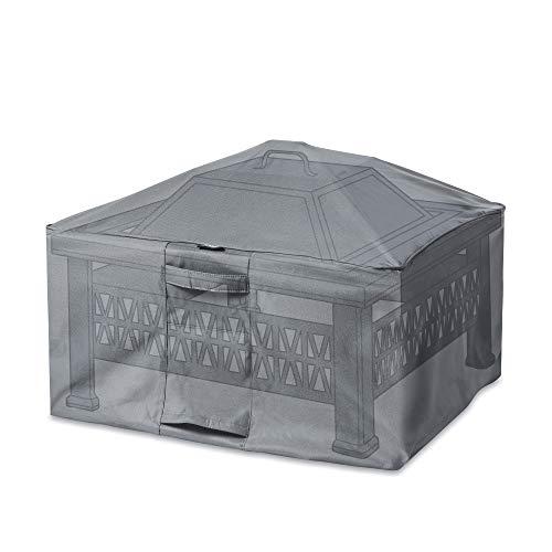 VonHaus Waterproof Garden Square Firepit Cover - 'The Storm Collection' Premium Heavy Duty Breathable Fabric Protection (L78cm x D78cm x H50cm) - Slate Grey