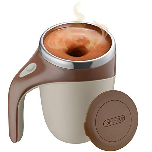 Self Stirring Coffee Mug, Automatic Magnetic Self Mixing Coffee Mug,14Oz Stainless Steel Insulated Reusable Coffee Cup, Spinning Home Office Travel Mixer Cup Best Cute Christmas Birthday Gift
