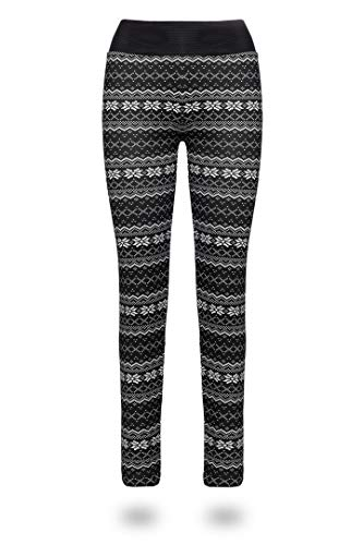 Kendindza Damen Thermo-leggins/Thermo-leggings für Winter-Leggings gefüttert Jegging Thermo-hose Weihnachtsleggins Baumwolle Norweger-Muster Blickdicht Stern Innenfleece Motiv Star Dots XL/XXL