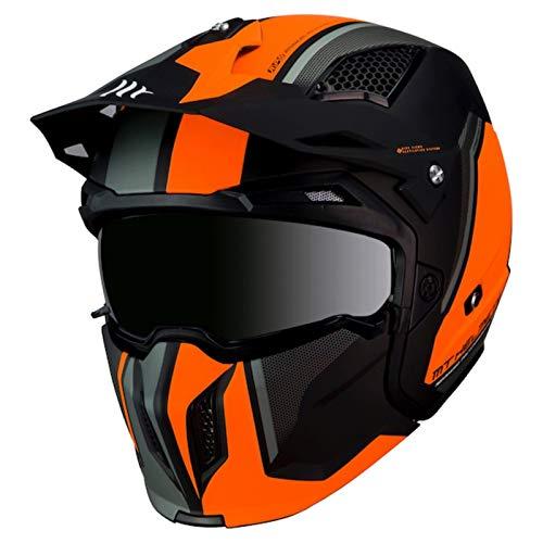 53-54cm MT Atom SV Divergence Motorcycle Flip Up DVS HELMET Flu Orange XS