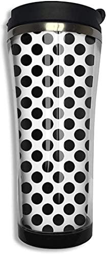 Lindo lunares negro blanco doble pared taza de acero inoxidable vaso de viaje con tapa botella de agua de 420 ml taza de café sellada