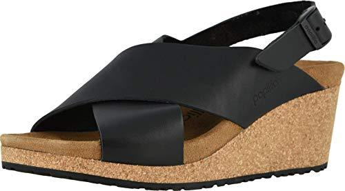 Birkenstock Womens Samira Wedge Sandal, Black Leather, 10-10.5 Narrow
