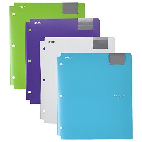 Five Star 4-Pocket Folders, Folders with Pockets, Fits 3 Ring Binder, Plastic, Teal, White, Purple, Lime, 4 Pack (73274)