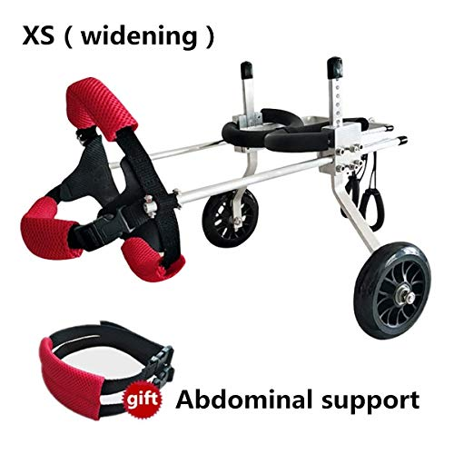 Ciiand Dog Wheelchair Dog Lift Harness Suitable for Small Dogs Cat Puppy Hind Legs Rehabilitation Handicapped Disabled Paralysis Injured Assist Walk,Adjustable,2 WheelsXS(widening)