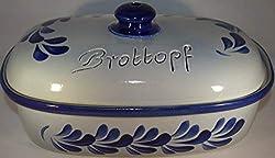 Töpferei Seifert Brottopf 30 cm grau-blau Oval, Steinzeug Westerwald