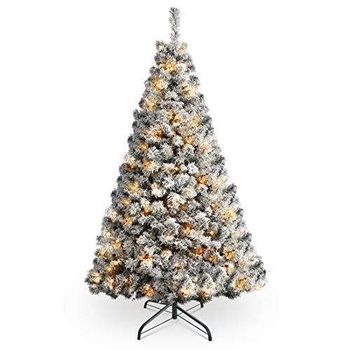 HOMAKER Pre-Lit 7FT Snow Flocked Christmas Tree, Hinged Artificial Christmas Pine Tree 350 UL-Certified Warm White Lights Easy Assembly Foldable Metal Stand Holiday Decoration
