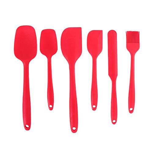 Hemoton Spatole in Silicone, Utensili da Cucina in Silicone Resistente al Calore Antiaderenti Utensili da Cucina in Silicone, Cottura in Silicone Utensili Set 6pcs(Rosso)