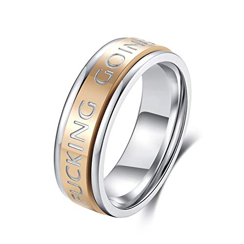 ALEXTINA 7mm Men's Women's Stainless Steel Keep Going Spinner Ring Calm Anxiety Inspirational Band Mantra Quote Positive Saying Stress Reliever, Size 9