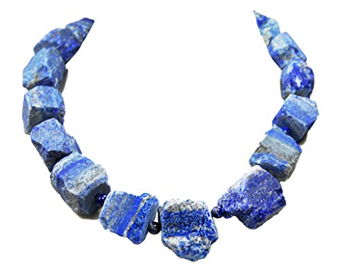Wunderschöne Edelsteinkette aus Lapislazuli naturbelassene Roh-Stein in Freiform