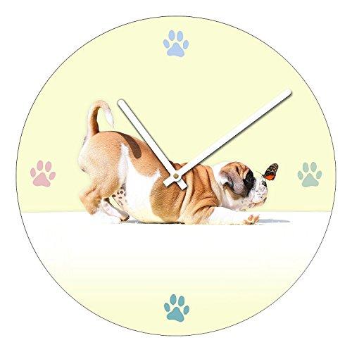 Pro-Art-Bilderpalette, Orologio da Parete in Vetro, ø 40 cm, Motivo: Sweet Puppy, Multicolore (Bunt)