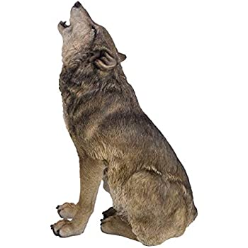 Pacific Giftware PT Realistic Look Statue Wildlife Howling Grey Wolf Decorative Resin Figurine