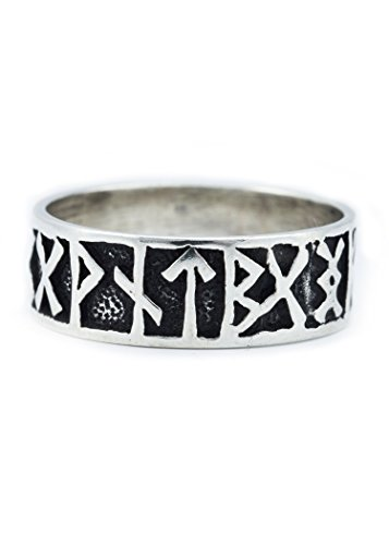 Battle-Merchant Wikinger Runen Ring aus Silber Wikingerring mit Muster Silberring LARP Wikinger Mittelalter Verschiedene Größen (Ringgröße 22/70)