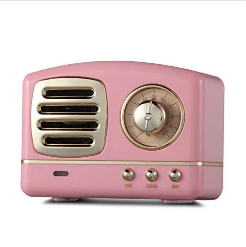 JUNPE Altavoz Retro de la Vendimia Bluetooth con Estilo clásico Antiguo de Moda Fuerte Potencia de bajo Volumen Bluetooth 4.1 conexión (Color : Pink)