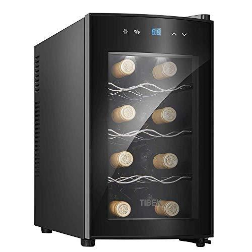 Refrigerador De Vino - Refrigerador De Vino Pequeño, Enfriador De 8 Botellas, Táctil, 39 Db En Funcionamiento, Puerta De Vidrio, Ajuste De 51 A 64 °;F, Vinoteca Termoeléctrica Eléctrica Refrigerador