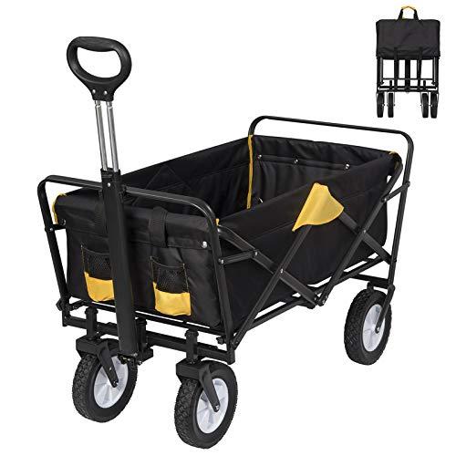 EUGAD Carro Playa Plegable Carrito para Jardín de Mano Compras Resistente Hasta 80 kg, Aprox.90x44x27cm, Antracita + amarillo 0010HC