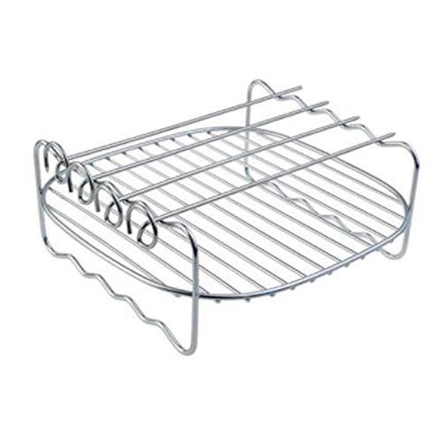 Fltaheroo Rejilla para Freidoras de Aire Freidora de Aire DoméStica Rejilla de Freidora de Aire de Doble Capa Parrilla Suministros de Barbacoa Ronda de Cuadro Agujas