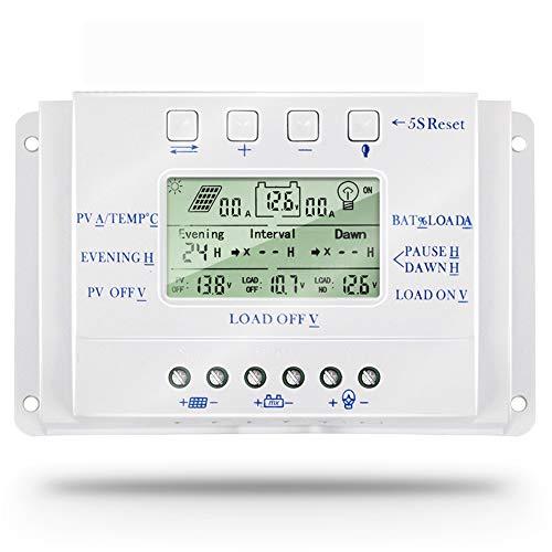 SolaMr 10A Regulador de Carga Solar 12V/24V Identificación Automática Voltaje Panel Solar Regulador de Inteligencia con Pantalla LCD - T10