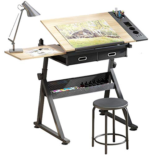 Dripex Adjustable Drawing Table - Painting Desk with Tiltable Tabletop - Architecture Design Work Station, Study, Drafting, Home Office Computer Desk(Including stool)