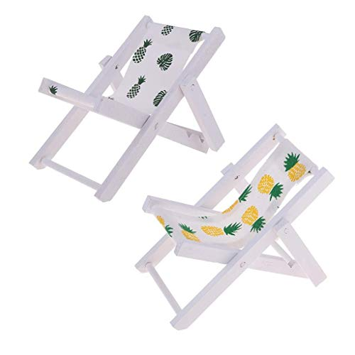 SPRINGHUA 1/12 Plegable de Madera sillas de Cubierta Silla de Playa Longue Muebles de jardín Mini Dollhouse Accesorios