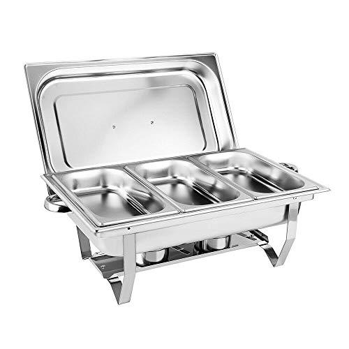 Berkalash 9L Edelstahl Speisenwärmer Behälter Chafing Dish Warmhaltegerät Warmhaltebehälter, 3 Grid Edelstahl Dish Speisenwärmer Set