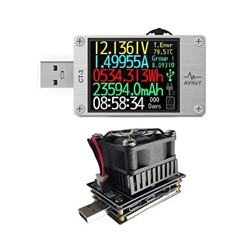AVHzY USB Tester Meter USB Last Digital Multimeter Spannungsprüfer DC 6A 26V für die Messung Lade-und Ladegeschwindigkeit in Kabel, Batterien, Energien Banken, etc. Shell von Metel (CT3+(sm-ld-00))