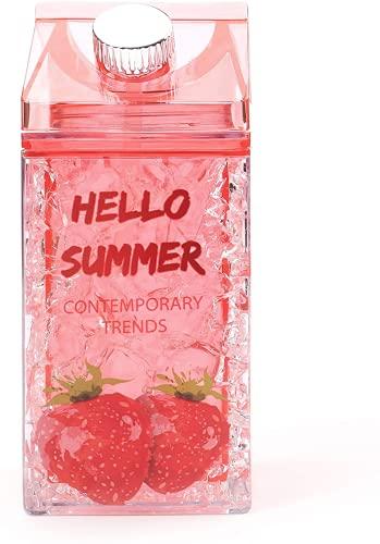 Botella de agua de cartón de leche, con popotes de doble pared de gel congelado congelador de cristal tazas de hielo, portátil a prueba de fugas, para deportes al aire libre, viajes, actividad