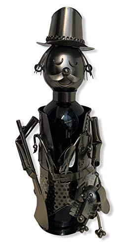 MC-Trend Wein Flaschenhalter Jäger mit Hund aus hochwertigem Metall │ Jagd │Geburtstag-Geschenk │einzigartige Dekoration │ideal für Weinflaschen