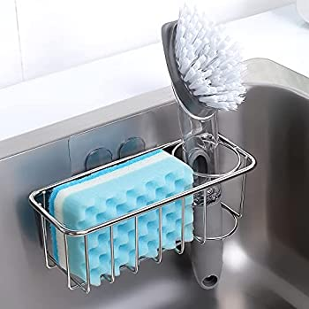 Adhesive Sponge Holder + Brush Holder 3-in-1 Sink Caddy SUS304 Stainless Steel Rust Proof Water Proof No Drilling