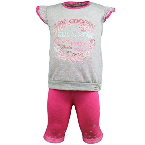 anja-wendt Baby MädchenSet 2tlg Kurze Leggins Shirt mit Volants-Ärmeln orange grau O10 (92, rosa-grau)