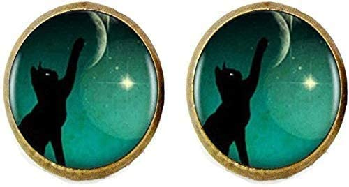 Black Cat Cufflinks Spring new work one after another Handmade Picture Art Recommendation Jewelry Vintage