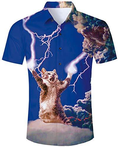 Goodstoworld Hawaiihemde Herren Freizeit Hemden Slim Fit Hawaiihemd Lightning cat 3D Bunt Kurzarmhemd Männer Hemd Shirt Blau XL