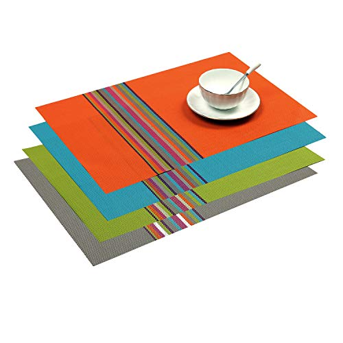 SHACOS Exquisite PVC Placemats Set of 4 Woven Vinyl Place Mats for Dining Table Heat Resistant Table Mats (4, Multicolor)