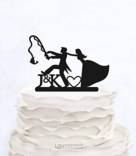 Ad4ssdu4 Custom Cake Topper Angeln Initialen Cake Topper Hochzeitstorte Topper Benutzerdefinierte Cake Topper Personalisierte Cake Topper