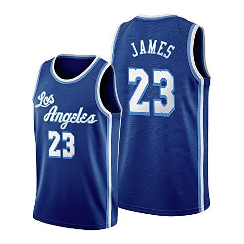 RENDONG Los Hombres De Camiseta De La NBA Lakers # 23 James Bordado De Malla Transpirable Baloncesto Swingman Jersey Bordado Retro Gimnasia Chaleco Deportes Camiseta Sin Mangas,Azul,XL