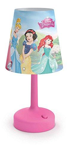 Philips Disney Princesas - Lámpara de mesa portátil, luz blanca cálida, bombilla...