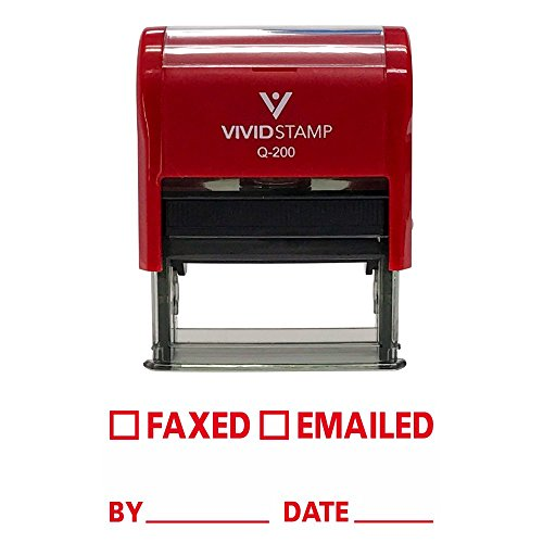 FAXED EMAILED by Date Self Inking Rubber Stamp (Red Ink) - Medium