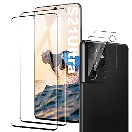 Galaxy S21 Ultra Panzerglas Schutzfolie, [2 Stück] [Hülle Friendly] [Fingerabdrucksensor Kompatible] [Kamera Schutzfolie] Gehärtetem Glas Bildschirmschutzfolie für Samsung Galaxy S21 Ultra
