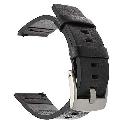 ZXF Correa de piel para reloj Samsung Galaxy 42 46 mm, engranaje S3 Sport Quick Release 18 24 mm (color: plata negro, tamaño: 22 mm)