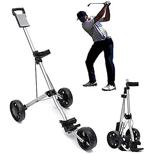 Golf Trolley Chariot avec Frein Voiturette 3 Roues Push Pull Golf Cart, Golf Push Cart en Alliage d'aluminium Pliable Chariot de Golf Accessoires pour Juniors golfeurs