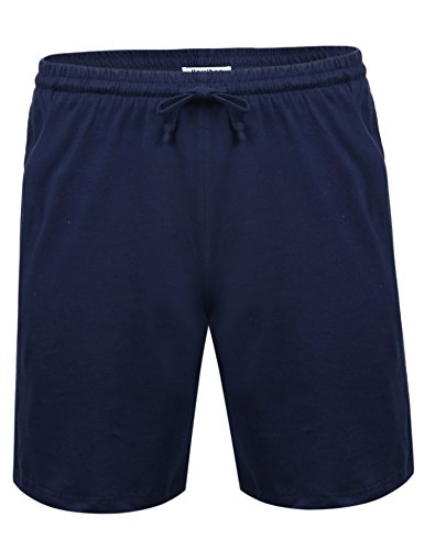 Aibrou Herren Schlafanzughose Kurz Baumwolle Pyjamahose Shorty Sommer Nachtwäsche Schlafanzug Sleep Hose Pants Blau M