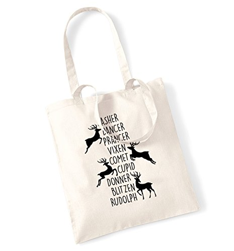 Dancer dasher prancer comet vixen cupid donner blitzen rudolph tote bag