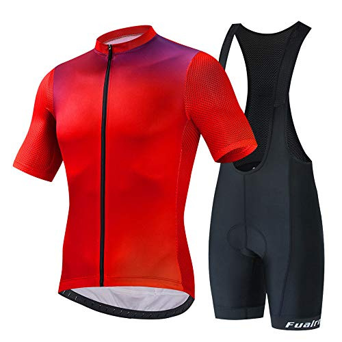 JINFAN Jerseys De Ciclismo para Hombre Trajes De Ciclismo De Manga Corta con Conjunto De Ropa Deportiva Al Aire Libre Acolchado con Gel 3D,Strap-Suit-XL