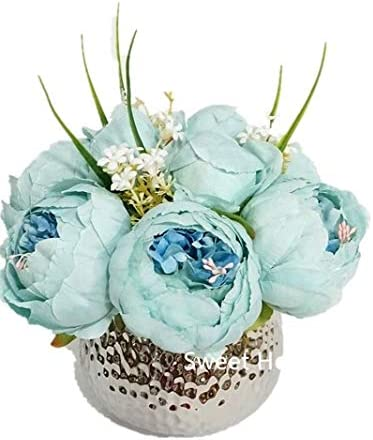 Sweet Home Deco Silk Peony Bargain Don't miss the campaign Arrangement Silver Ta Ceramic in Vase