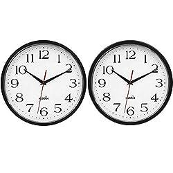 HIPPIH 2 Pack Silent Wall Clock, 10 Inch Non Ticking Digital Quiet Sweep Decorative Clocks, Black