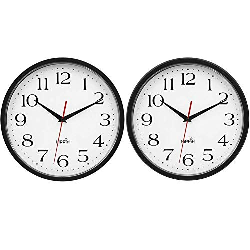HIPPIH 2 Pack Silent Wall Clock, 10 Inch Non Ticking Digital Quiet Sweep Decorative Clocks, Black
