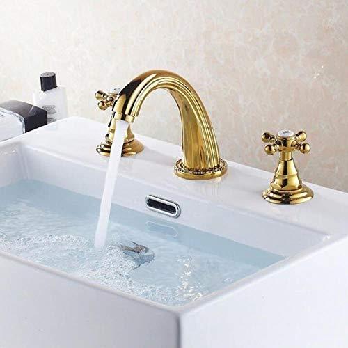 Kai&Guo Rubinetteria per lavabo Rubinetteria per lavabo da Bagno Moderna in Ottone Dorato lucidato Miscelatore da Cucina a 3 Fori per lavabo, Maniglia Trasversale