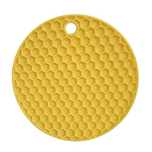 YuuHeeER Posavasos multiusos de silicona con diseño de panal de abeja, plegable, antideslizante, color amarillo