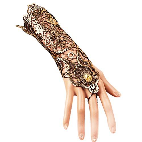 Damen Vintage Gold Spitze Handschuhe Handgemachte Accessoires Kleid Half Finger Festival COS Party Hochzeit Kostüm